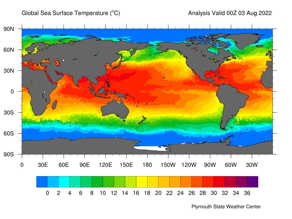 Latest global SST anomalies chart